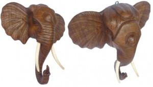 Asiatische Moebel, Elefantenkoepfe aus Holz