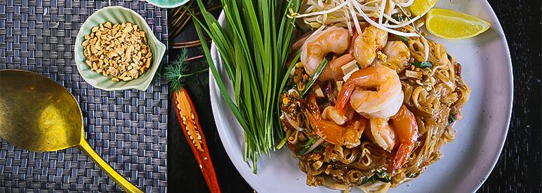 Pad Thai Phat Thai Rezept garniert Teller Thaiessen Thailand